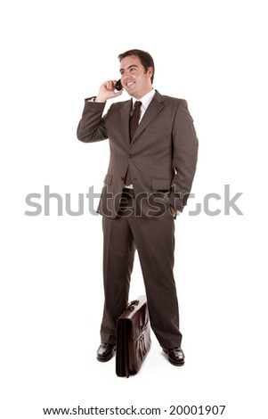 Happy business man on the phone - stock photo
