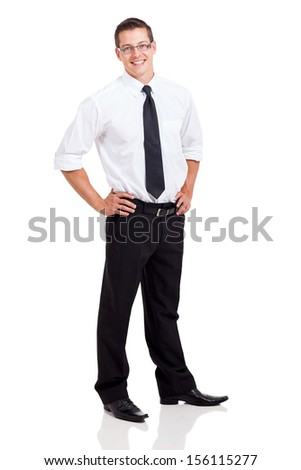 happy business man standing on white background - stock photo