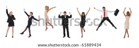 happy business people celebrating all together - stock photo