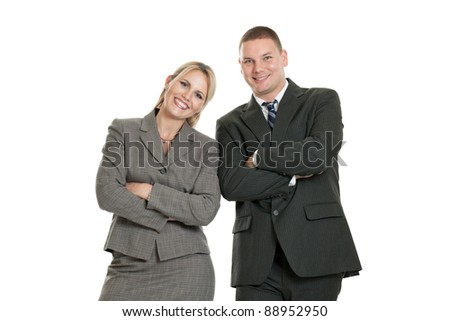 Happy business team isolated on a white background - stock photo