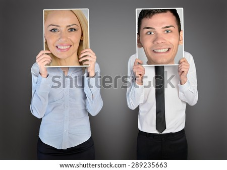 Happy business woman and man - stock photo
