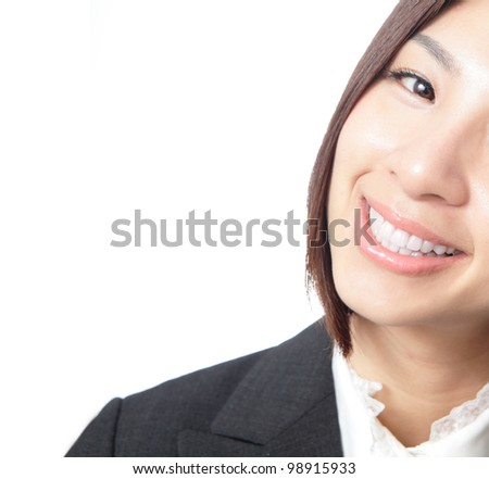 Happy business woman lips close up isolated on white background, model is a asian beauty - stock photo
