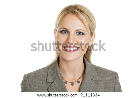 Happy business woman portrait isolated on white - stock photo