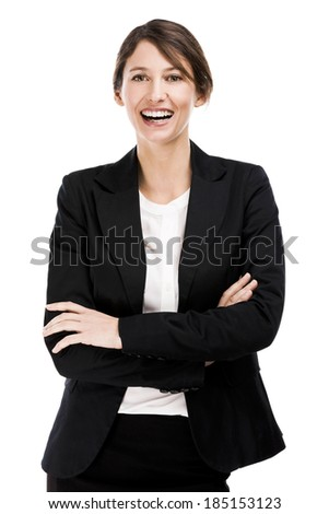 Happy business woman smiling, isolated over a white background - stock photo
