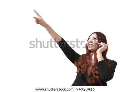 Happy business woman speak mobile phone and pointing up, isolated on white background, model is a asian beauty - stock photo
