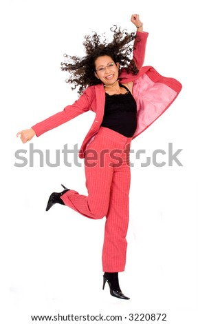happy business woman with a big smile jumping dressed in red over a white background - stock photo