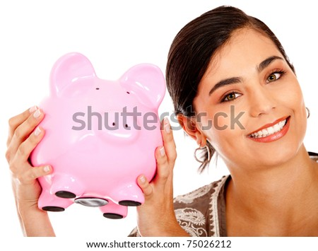 Happy business woman with a piggy bank - isolated - stock photo