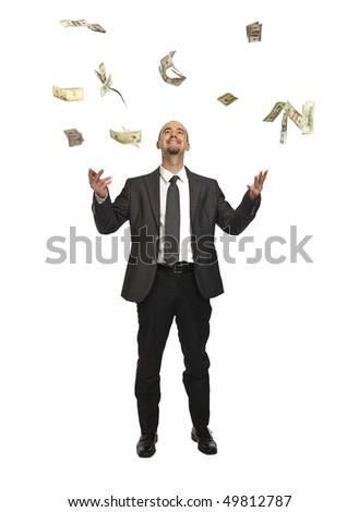happy businessman and money rain isolated on white - stock photo