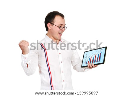 happy businessman and tablet with business chart - stock photo