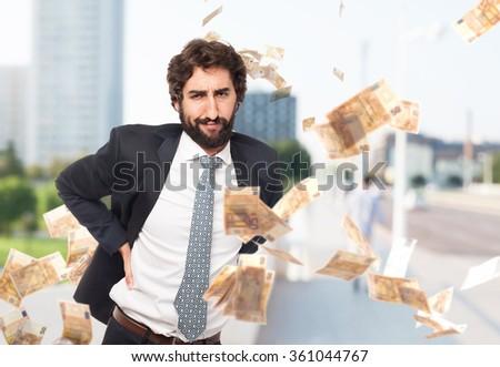 happy businessman back ache - stock photo