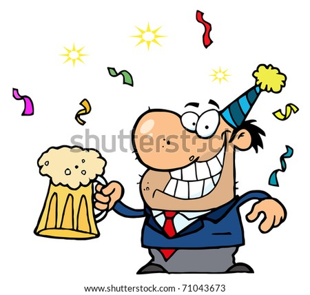 Happy Businessman Celebrating At A Party With Beer - stock photo