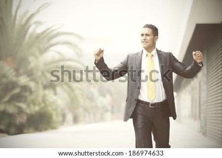 Happy businessman celebrating his success - stock photo