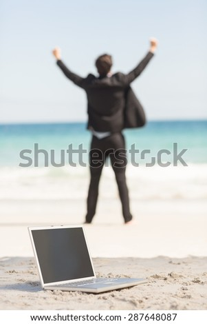 Happy businessman cheering in front of the sea at the beach - stock photo