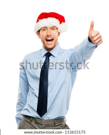 Happy businessman excited about Christmas bonus portrait isolated on white background - stock photo