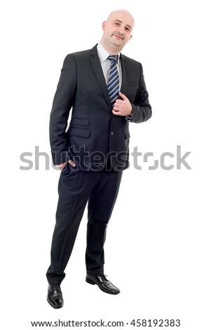 happy businessman full length, isolated on white - stock photo