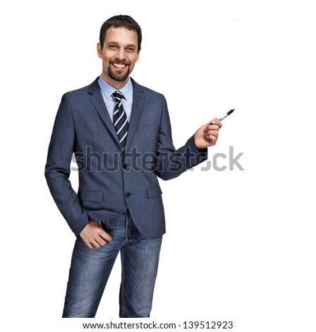 Happy businessman giving presentation on white background  - stock photo