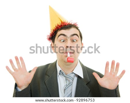 Happy businessman in the hat on a white background. - stock photo