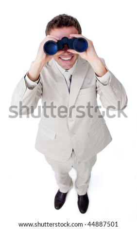 Happy businessman looking through binoculars isolated on a white background - stock photo