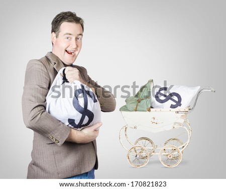 Happy businessman nurturing a growing money bag with baby pram in background. Cash flow growth concept - stock photo
