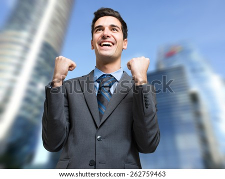 Happy businessman obtaining a promotion  - stock photo