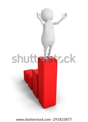 Happy Businessman On Successful Bar Chart Diagram. 3d Render Illustration - stock photo