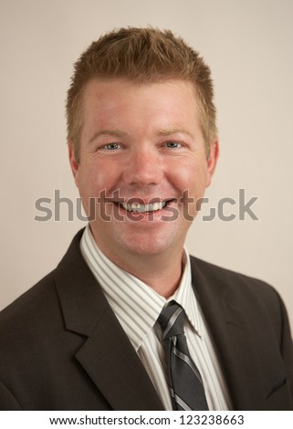 Happy businessman portrait friendly expression man - stock photo