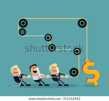 Happy businessman pulling rope with dollar through several intermediaries gears cartoon flat design style. Team, teamwork working together, collaboration, business teamwork, leadership. Raster version - stock photo