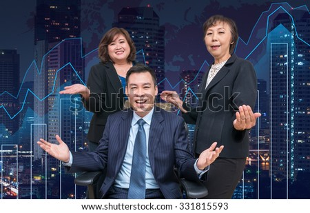 Happy Businessman Teamwork on Trading graph on the cityscape at night and world map background, business concept - stock photo