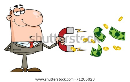Happy Businessman Using A Magnet To Attracts Money - stock photo
