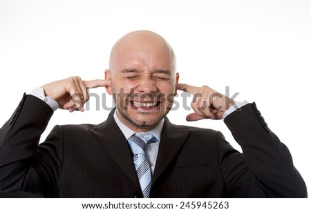 happy businessman with funny face expression making victory sign with fists in success at work and business concept isolated on white background - stock photo