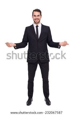 Happy businessman with his open hands on white background - stock photo