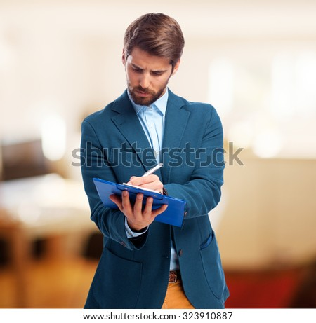 happy businessman with notebook - stock photo