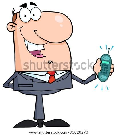 Happy Businessman With Phone Ringing - stock photo
