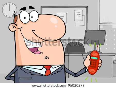 Happy Businessman With Phone Ringing The Background Of Office - stock photo