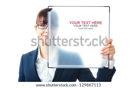 Happy businesswoman holding blank signboard, space for text - stock photo