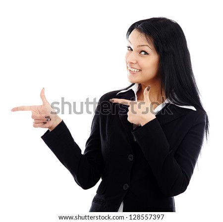 Happy businesswoman pointing to the side of the image isolated on white background - stock photo