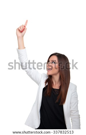 Happy businesswoman pointing up, isolated on white - stock photo