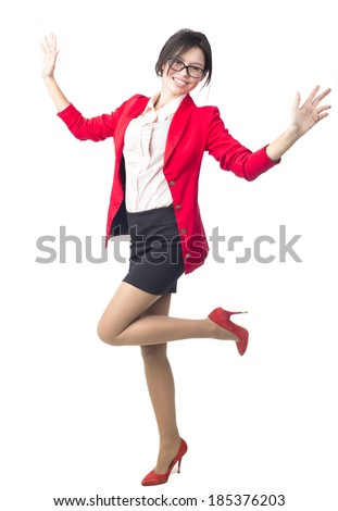 Happy businesswoman posing in studio - stock photo