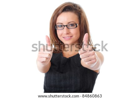 Happy businesswoman shows thumbs up gesture, foreground focus, isolated on white - stock photo
