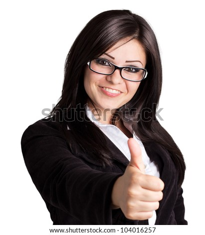 happy businesswoman with thumb up - stock photo