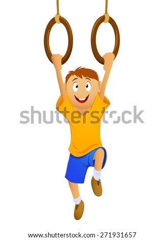 Happy cartoon boy hanging on gymnastic rings isolated on white - stock photo