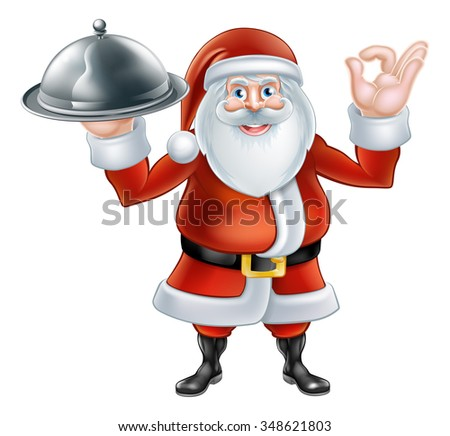 Happy cartoon Christmas Santa Claus holding a silver platter of food and giving a perfect hand gesture - stock photo
