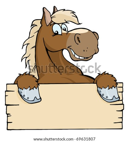 Happy Cartoon Horse With A Blank Sign - stock photo
