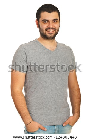 Happy casual guy in blank grey t-shirt isolated on white background - stock photo