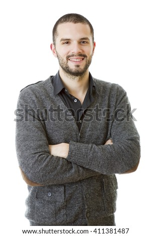happy casual man isolated on white background - stock photo