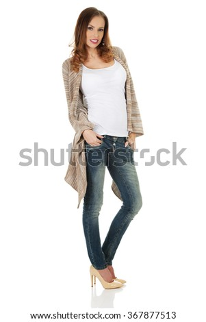 Happy casual woman standing. - stock photo