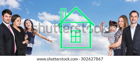 Happy caucasian family on the background of sky with home logo  - stock photo