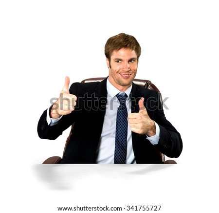 Happy Caucasian man with short medium blond hair in business formal outfit cheering - Isolated - stock photo