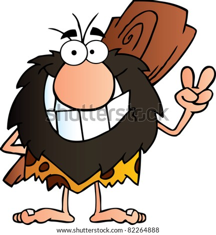 Happy Caveman Gesturing The Peace Sign With His Hand.Raster Illustration.Vector version is also available - stock photo