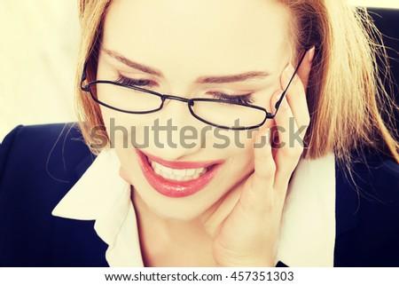 Happy, cheerful caucasain business woman - stock photo